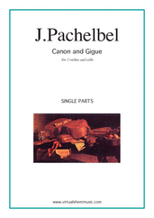 Cover icon of Canon in D and Gigue (parts) sheet music for two violins and cello by Johann Pachelbel, classical wedding score, intermediate skill level
