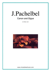 Cover icon of Canon in D and Gigue sheet music for flute solo by Johann Pachelbel, classical wedding score, intermediate skill level