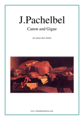 Cover icon of Canon in D and Gigue sheet music for piano four hands by Johann Pachelbel, classical wedding score, easy/intermediate skill level