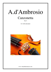 Cover icon of Canzonetta Op. 6 sheet music for violin and piano by Alfredo d'Ambrosio, classical wedding score, advanced skill level
