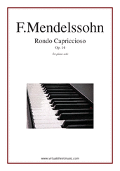 Cover icon of Rondo Capriccioso Op.14 sheet music for piano solo by Felix Mendelssohn-Bartholdy, classical score, intermediate/advanced skill level
