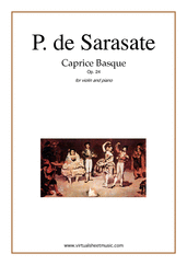 Cover icon of Caprice Basque Op.24 sheet music for violin and piano by Pablo De Sarasate, classical score, advanced skill level
