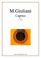 Cover icon of Caprice Op.11 sheet music for guitar solo by Mauro Giuliani, classical score, intermediate skill level