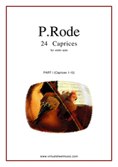 Cover icon of Caprices part I (1-12) sheet music for violin solo by Pierre Rode, classical score, intermediate/advanced skill level