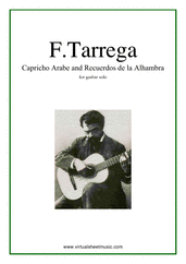 Cover icon of Capricho Arabe and Recuerdos de la Alhambra sheet music for guitar solo by Francisco Tarrega, classical score, intermediate/advanced skill level
