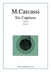 Cover icon of Caprices, Op.26 sheet music for guitar solo by Matteo Carcassi, classical score, intermediate skill level
