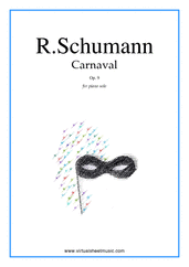 Cover icon of Carnaval, Op.9 sheet music for piano solo by Robert Schumann, classical score, intermediate/advanced skill level