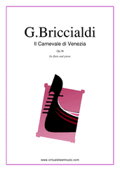 Cover icon of Il Carnevale di Venezia sheet music for flute and piano by Giulio Briccialdi, classical score, advanced skill level