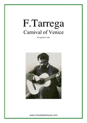 Carnival of Venice for guitar solo - advanced guitar sheet music
