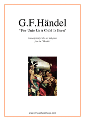 Cover icon of For Unto Us A Child Is Born sheet music for alto saxophone and piano by George Frideric Handel, classical score, intermediate skill level