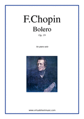 Cover icon of Bolero Op.19 sheet music for piano solo by Frederic Chopin, classical score, advanced skill level