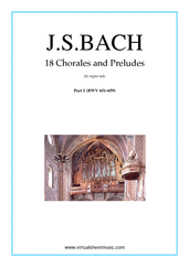 Cover icon of Chorales and Preludes, 18 (part I) sheet music for organ solo by Johann Sebastian Bach, classical score, intermediate skill level