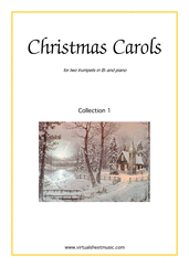 Cover icon of Christmas Sheet Music and Carols, coll.1 for two trumpets and piano, easy/intermediate duet