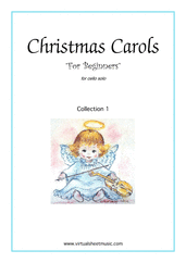 Christmas Carols 'For Beginners', (all the collections, 1-3) for cello solo - beginner cello sheet music