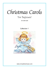 Christmas Carols 'For Beginners', (all the collections, 1-3) for violin solo - beginner violin sheet music