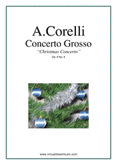 "Cover icon of Concerto Grosso Op.6 No.8 - ""Christmas"" (COMPLETE) sheet music for strings and harpsichord by Arcangelo Corelli, Christmas carol score, intermediate orchestra"