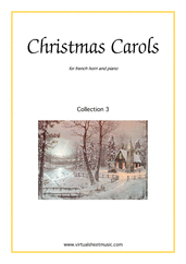 Cover icon of Christmas Sheet Music and Carols, coll.3 for horn and piano, easy skill level