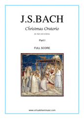 Cover icon of Christmas Oratorio, part I (f.score) sheet music for choir and orchestra by Johann Sebastian Bach, Christmas carol score, intermediate/advanced skill level