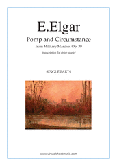 Cover icon of Pomp and Circumstance Op.39 (parts) sheet music for string quartet by Edward Elgar, classical score, intermediate skill level