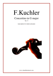 Cover icon of Concertino in G major Op. 11 sheet music for clarinet and piano by Ferdinand Kuchler, classical score, easy skill level