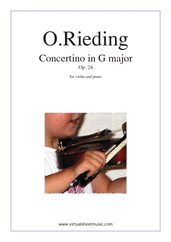 Cover icon of Concertino in G major Op.24 sheet music for violin and piano by Oskar Rieding, classical score, easy skill level