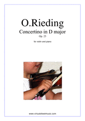 Cover icon of Concertino in D major Op.25 sheet music for violin and piano by Oskar Rieding, classical score, easy/intermediate skill level