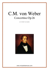 Cover icon of Concertino Op.26 sheet music for clarinet and piano by Carl Maria Von Weber, classical score, intermediate skill level