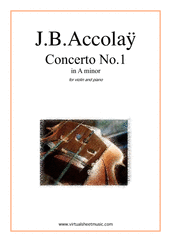 Cover icon of Concerto No.1 in A minor sheet music for violin and piano by Jean Baptiste Accolay, classical score, intermediate/advanced skill level