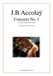 Cover icon of Concerto No.1 in A minor (transposed in D minor) sheet music for viola and piano by Jean Baptiste Accolay, classical score, intermediate/advanced skill level