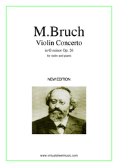 Cover icon of Concerto in G minor Op.26 sheet music for violin and piano by Max Bruch, classical score, intermediate/advanced skill level