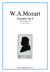 Cover icon of Concerto No. 4 in D major K218 sheet music for violin and piano by Wolfgang Amadeus Mozart, classical score, intermediate/advanced skill level