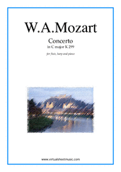 Cover icon of Concerto in C major K299 sheet music for flute, harp and piano by Wolfgang Amadeus Mozart, classical score, intermediate/advanced skill level