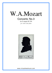 Cover icon of Concerto No. 3 in G major K216 sheet music for violin and piano by Wolfgang Amadeus Mozart, classical score, intermediate skill level