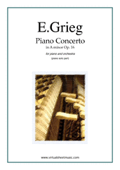 Cover icon of Concerto in A minor Op.16 sheet music for piano and orchestra by Edward Grieg, classical score, advanced skill level