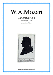 Cover icon of Concerto No. 1 in Bb major K207 sheet music for violin and piano by Wolfgang Amadeus Mozart, classical score, intermediate skill level