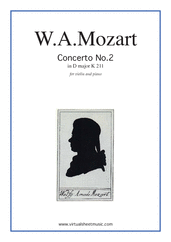 Cover icon of Concerto No. 2 in D major K211 sheet music for violin and piano by Wolfgang Amadeus Mozart, classical score, intermediate skill level