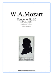 Cover icon of Concerto in D minor No.20 K466 sheet music for piano and orchestra by Wolfgang Amadeus Mozart, classical score, intermediate skill level