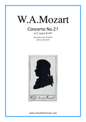 Concerto in C major No.21 K467 for piano and orchestra - intermediate orchestra sheet music