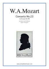 Cover icon of Concerto in A major No.23 K488 sheet music for piano and orchestra by Wolfgang Amadeus Mozart, classical score, intermediate skill level