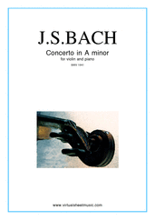 Cover icon of Concerto in A minor sheet music for violin and piano by Johann Sebastian Bach, classical score, easy/intermediate skill level