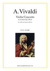 Cover icon of Concerto in A minor Op.3 No.6 (f.score) sheet music for string orchestra by Antonio Vivaldi, classical score, intermediate skill level