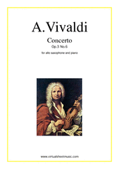 Cover icon of Concerto in A minor Op.3 No.6 sheet music for alto saxophone and piano by Antonio Vivaldi, classical score, easy/intermediate skill level