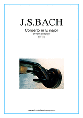 Cover icon of Concerto in E major sheet music for violin and piano by Johann Sebastian Bach, classical score, intermediate skill level