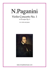 Cover icon of Concerto op.6 no.1 sheet music for violin and piano by Nicolo Paganini, classical score, advanced skill level