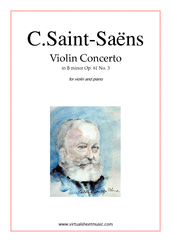 Cover icon of Concerto in B minor Op.61 No.3 sheet music for violin and piano by Camille Saint-Saens, classical score, advanced skill level