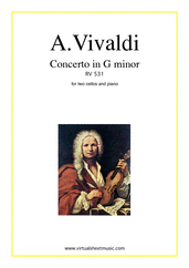 Cover icon of Concerto in G minor RV 531 sheet music for two cellos and piano by Antonio Vivaldi, classical score, intermediate/advanced skill level