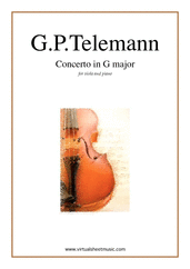 Cover icon of Concerto in G major sheet music for viola and piano by Georg Philipp Telemann, classical score, intermediate/advanced skill level