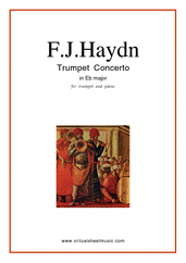 Cover icon of Concerto in Eb major sheet music for trumpet and piano by Franz Joseph Haydn, classical score, intermediate skill level