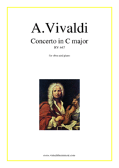 Cover icon of Concerto in C major RV 447 sheet music for oboe and piano by Antonio Vivaldi, classical score, advanced skill level