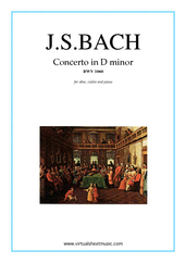 Cover icon of Concerto in D minor BWV 1060 sheet music for oboe, violin and piano by Johann Sebastian Bach, classical score, intermediate skill level